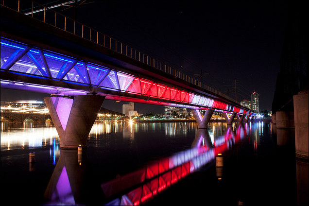 Phoenix Light Rail bridge going over Tempe Town Lake, the reservoir for the Salt River (photo by Alan Stark)